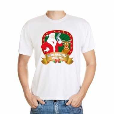 Boze kerstman trui wit run rudolf voor man