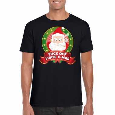 Boze kerstman trui zwart fuck off i hate x mas voor man