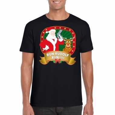 Boze kerstman trui zwart run rudolf voor man