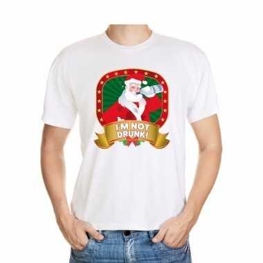 Dronken kerstman trui wit im not drunk voor man