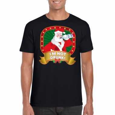Dronken kerstman trui zwart im not drunk voor man