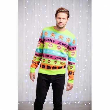 Felgekleurde sweater met kerst afbeelding man