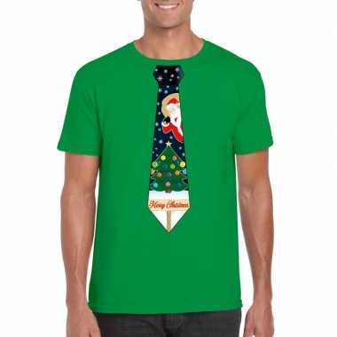 Fout kerst t trui groen met kerstboom stropdas voor man