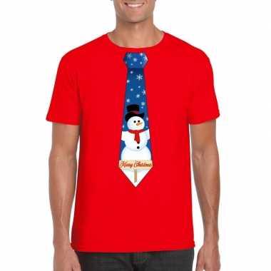 Fout kerst t trui rood met sneeuwpop stropdas voor man