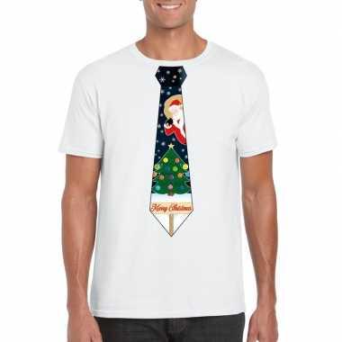 Fout kerst t trui wit met kerstboom stropdas voor man