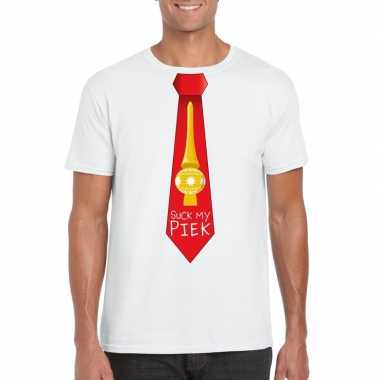 Fout kerst t trui wit suck my piek rode stropdas voor man