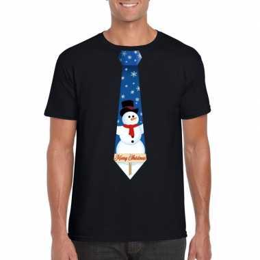 Fout kerst t trui zwart met sneeuwpop stropdas voor man