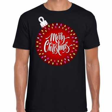 Fout kerstrui kerstbal merry christmas zwart voor man