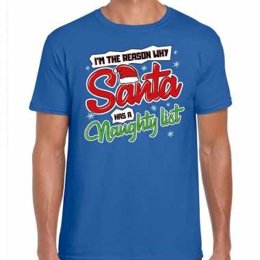 Fout kerstrui why santa has a naughty list blauw voor man