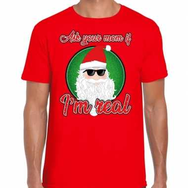 Fout kersttrui cool santa i am real rood voor man