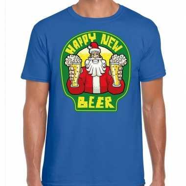 Fout nieuwjaar / kersttrui happy new beer / bier blauw man
