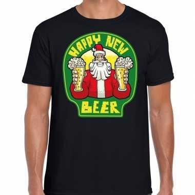 Fout nieuwjaar / kersttrui happy new beer / bier zwart man