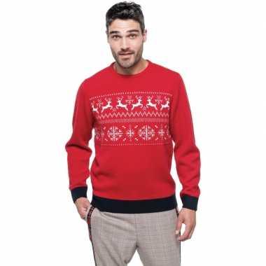 Foute gebreide kersttrui rood met noorse print voor man