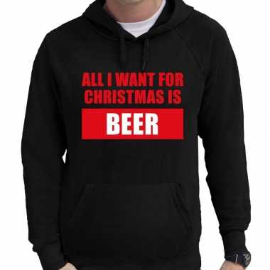Foute kerst hoodie/trui all i want for christmas zwart man