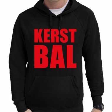 Foute kerst hoodie/trui kerst bal zwart voor man