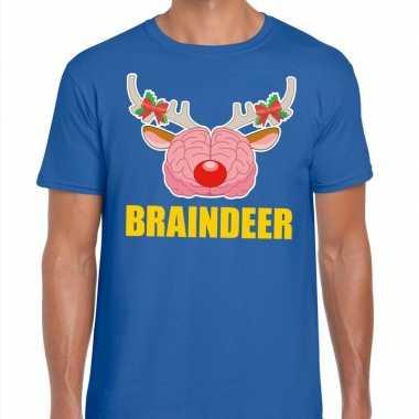 Foute kerst t trui braindeer blauw voor man