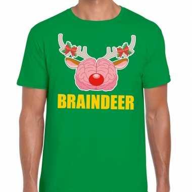 Foute kerst t trui braindeer groen voor man