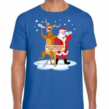 Foute kerst t trui dronken kerstman en rudolf blauw man