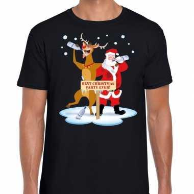 Zwarte Kersttrui.Foute Kerst T Trui Dronken Kerstman En Rudolf Zwart Man Kersttrui