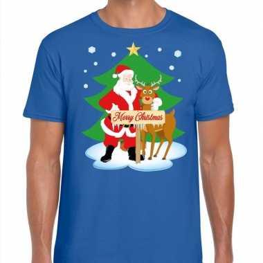 Foute Kerst T Trui Kerstman En Rendier Rudolf Blauw Man Kersttrui