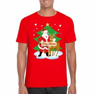 Kersttrui Kerstman.Foute Kerst T Trui Kerstman En Rendier Rudolf Rood Man Kersttrui