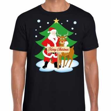 Foute kerst t trui kerstman en rendier rudolf zwart man