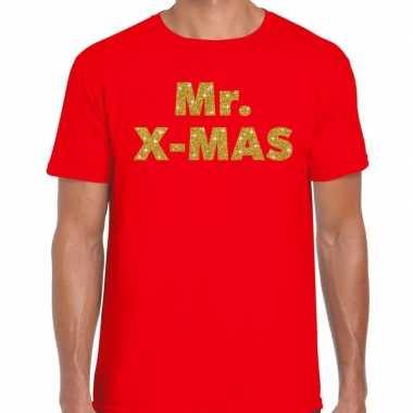 Foute kerst t trui mr x mas goud glitter / rood man