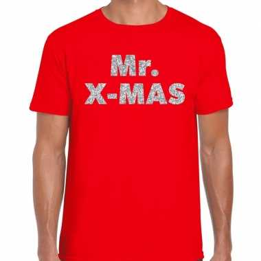 Foute kerst t trui mr x mas zilver glitter / rood man