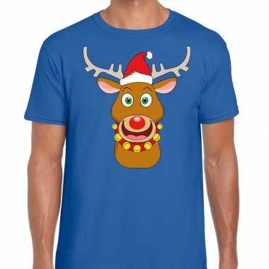 Foute kerst t trui rendier rudolf rode kerstmuts blauw man