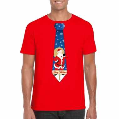 Foute kerst t trui stropdas met kerstman print rood voor man