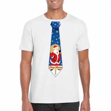 Foute kerst t trui stropdas met kerstman print wit voor man