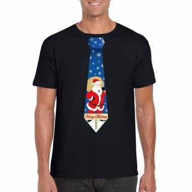 Foute kerst t trui stropdas met kerstman print zwart voor man
