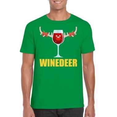 Foute kerst t trui winedeer groen voor man