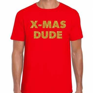 Foute kerst t trui x mas dude goud glitter op rood man