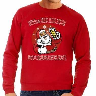 Foute kersttrui bier drinkende kerstman ho ho ho rood voor man