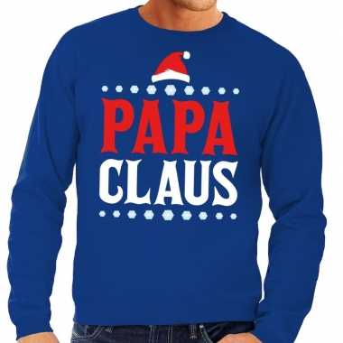 Foute kersttrui blauw papa claus voor man