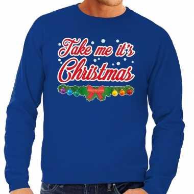 Foute kersttrui blauw take me its christmas voor man