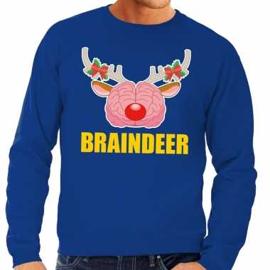 Foute kersttrui braindeer blauw voor man