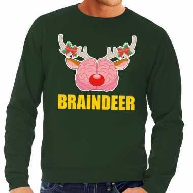 Foute kersttrui braindeer groen voor man