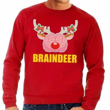 Foute kersttrui braindeer rood voor man