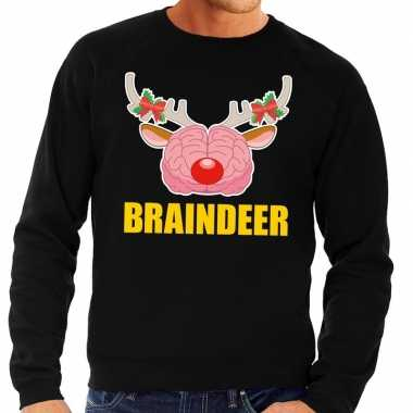 Foute kersttrui braindeer zwart voor man