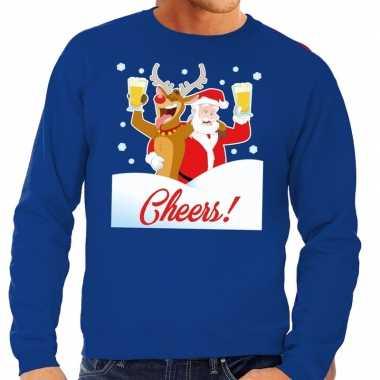 Foute kersttrui cheers met dronken kerstman blauw man