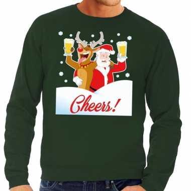 Foute kersttrui cheers met dronken kerstman groen man