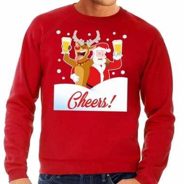 Foute kersttrui cheers met dronken kerstman rood man