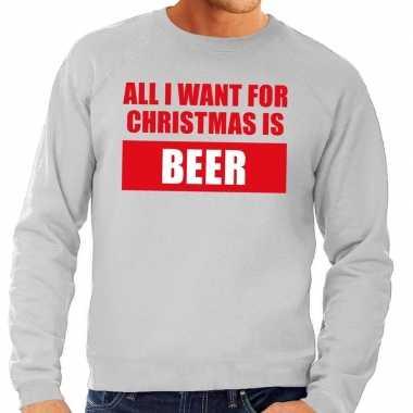 Foute kersttrui christmas beer grijs voor man