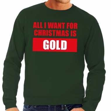 Foute kersttrui christmas gold groen voor man
