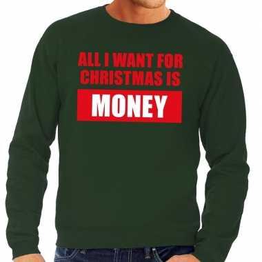 Foute kersttrui christmas money groen voor man