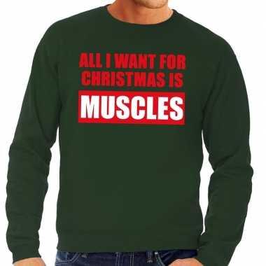 Foute kersttrui christmas muscles groen voor man