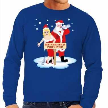 Foute kersttrui dronken kerstman en kerstvrouw blauw man