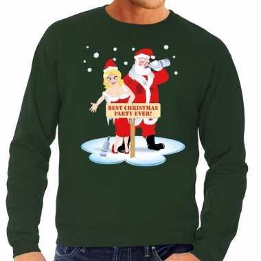 Foute kersttrui dronken kerstman en kerstvrouw groen man